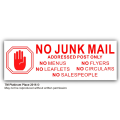 1 x No Junk Mail-HAND-RED on WHITE-Window Warning House Sticker-Vinyl Door Letters Notice Sign